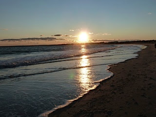 Pine Point shoreline at sunset