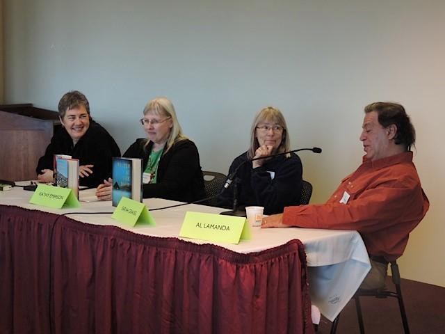 Panel on Writing a Series - me, Kathy Lynn Emerson, Sarah Graves and Al Lamanda