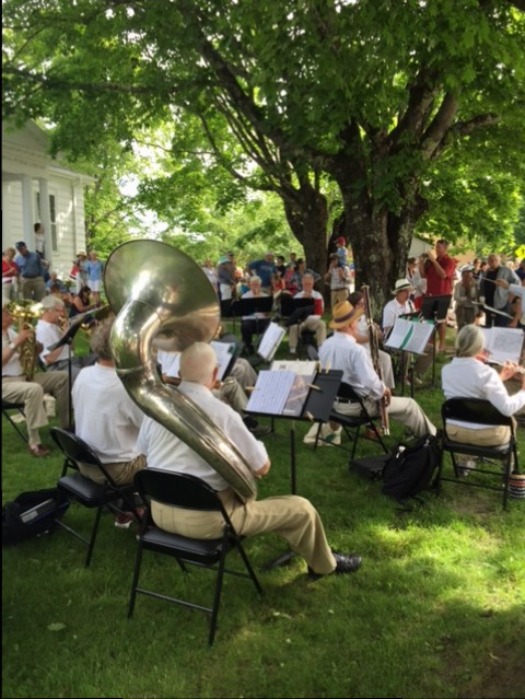 July 4th with the Brooklin Town Band on the lawn of Friend Memorial Library