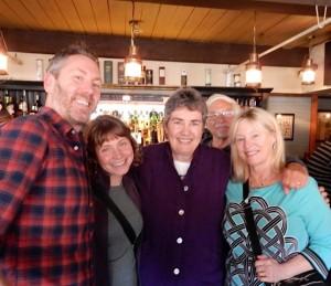 At The QUICK PIVOT launch party: Chris Holm, Katrina Niidas Holm, me, Ken Cohen, Kate Flora