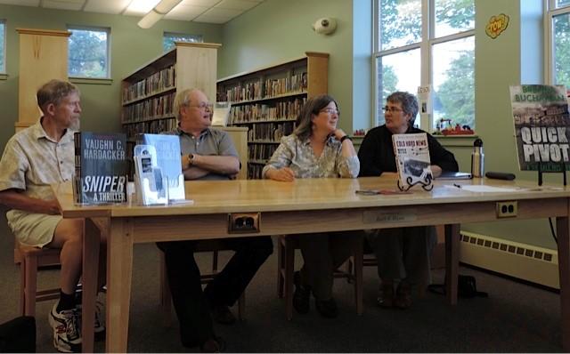 Maine crime writers John Clark, Vaughn Hardacker, Maureen Milliken and me