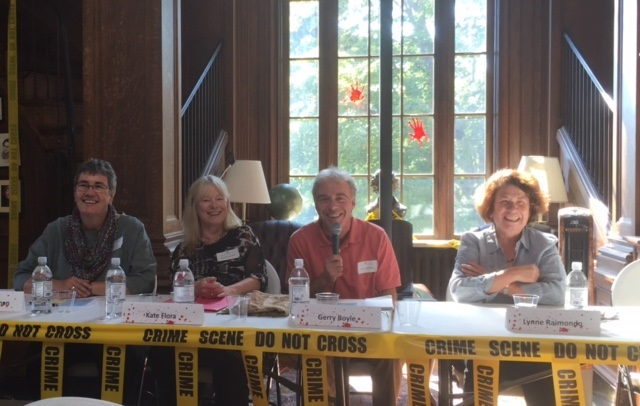 Talking about writing protagonists of the opposite sex. From left, me, Kate Flora, Gerry Boyle and Lynne Raimondo.