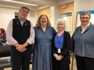 From left, Dick Cass, Barb Ross, librarian Janie Downey Maxwell and me.